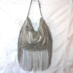 Ralph Lauren silver leather hobo bag with fringe